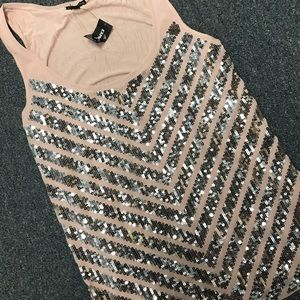Blush and silver sequin tank